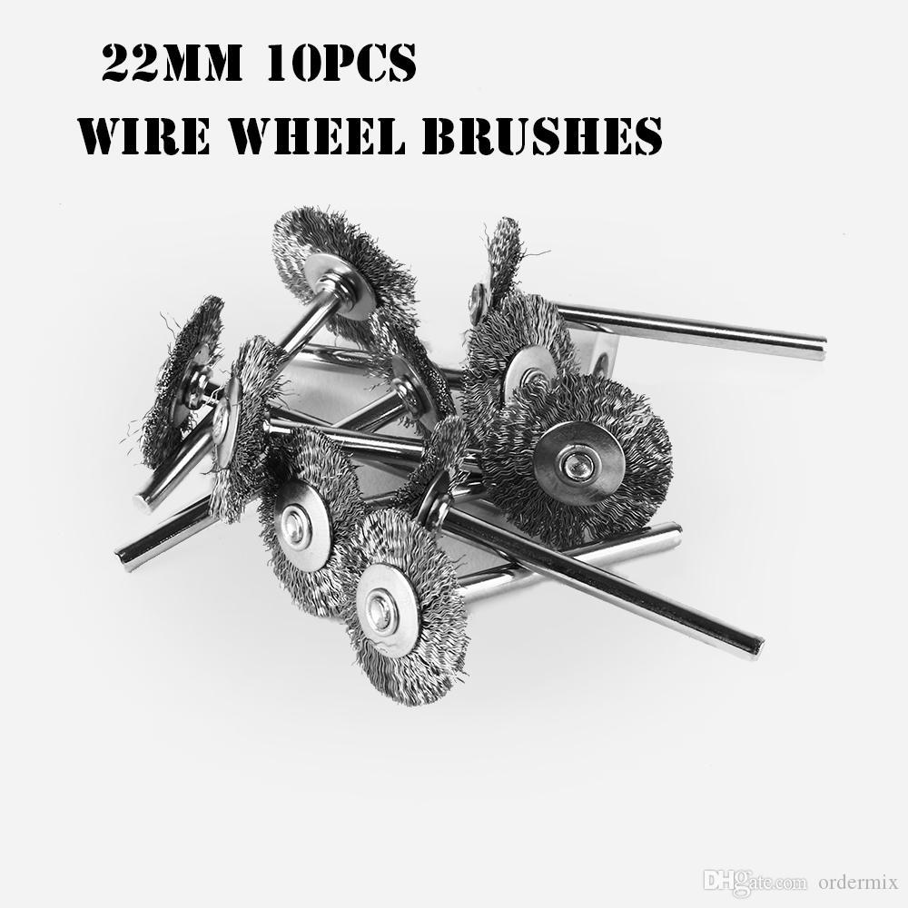 22 ملليمتر 10 قطع أسلاك الفولاذ عجلة فرش كأس الصدأ دريميل الملحقات أداة الروتاري دريميل أداة كهربائية الصدأ الأنظف الملحقات