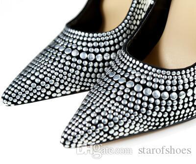 2018 silber besetzte nieten 12 cm high heels schuhe sexy spitz nachtclub frauen schuhe metall heels slip-on frauen pumpen