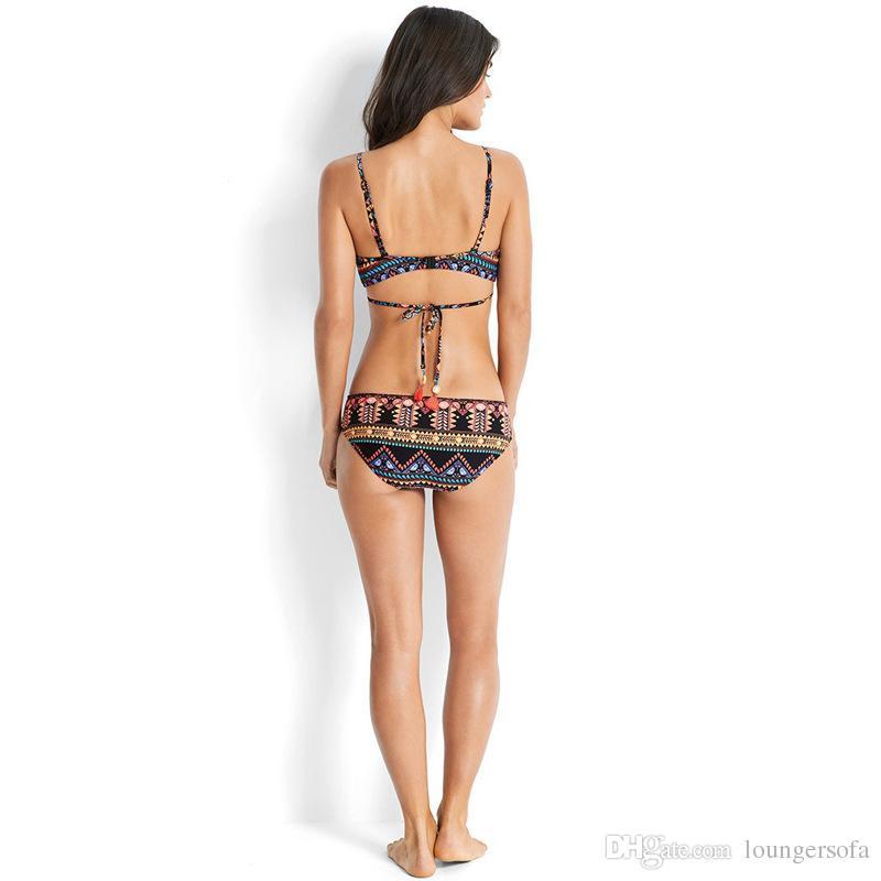 Femme Bikini Estilo Étnico Camisola Ternos de Duas Peças Conjunto Dividido Corpo Chinlon Senhora Swimwear Swimsuit Mulher Sexy Impressão 22qy V