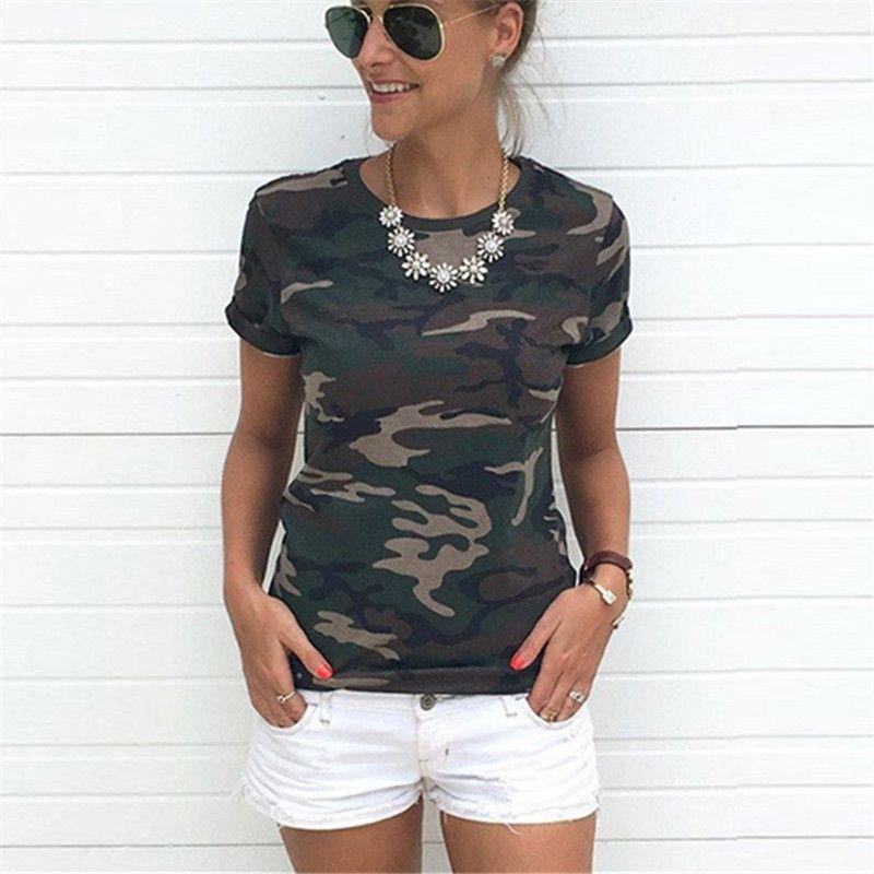 51bf9eaa0a017 Women Camouflage T Shirt 2018 Summer Short Sleeve T-Shirt Girls ...