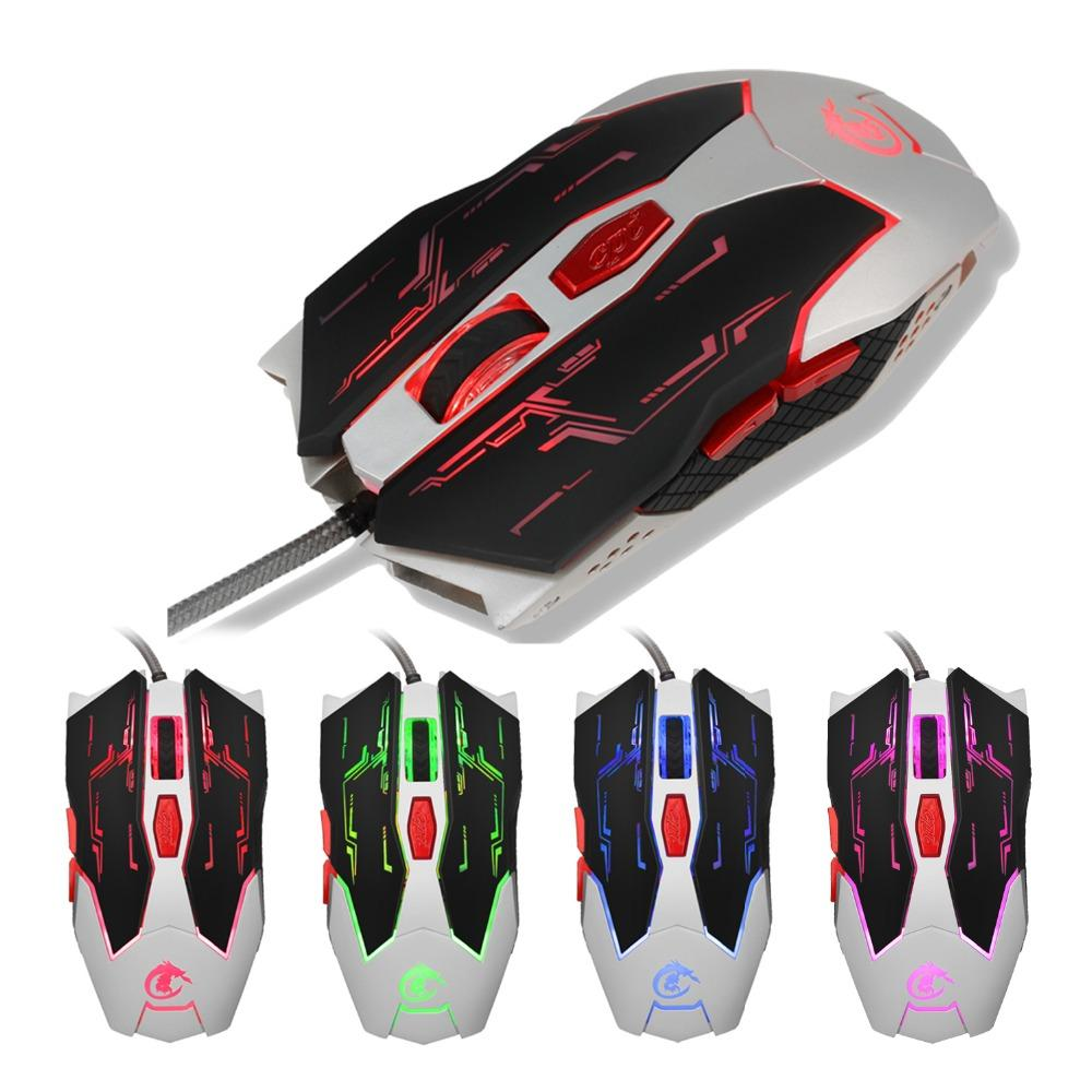 HXSJ USB Wired Computer Mouse Gaming Metal Plate 6 Button LED Optical PC  Mouse Programmable Mice For Gamer Desktop Office Home