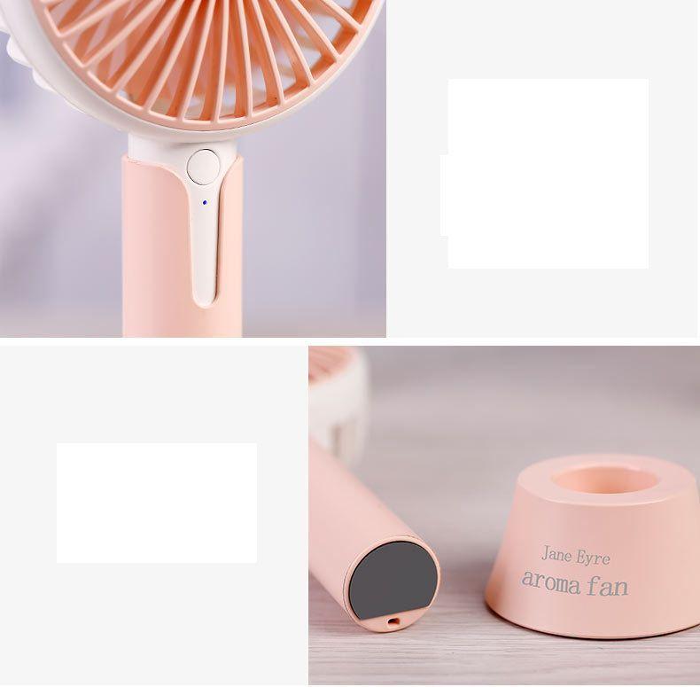 Nueva Jane Aroma Fume Fan Mini portátil Fan Fan de mano 2018