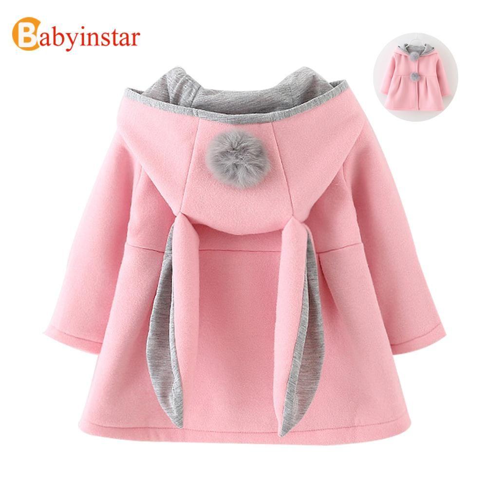424a43cd2 Cute Rabbit Ear Hooded Baby Girls Coat New Autumn Tops Kids Warm ...