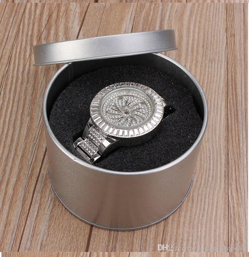 Scatola all'ingrosso Scatole imballaggio orologi in metallo argento Scatole contenitori rotondi orologi