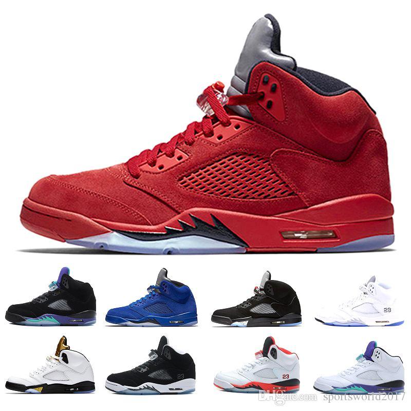 a74992c82ccb0 Acheter Air Jordan Retro 5 5s Nike AJ5 Chaussures De Basket Ball Nice 5 5s  Hommes Sneaker V Red Suede Cement Oregon Ducks De $90.4 Du Sportsworld2017  ...