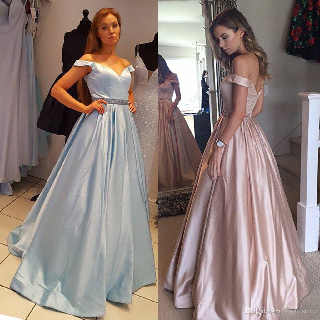 Vintage Blue Champagne Prom Dresses Plus Size Off The Shoulder ...