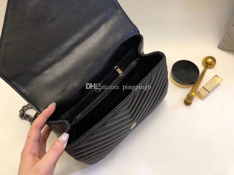 2018 nouvelle marque sac à main en cuir véritable 100% sac à main femmes Cross Body célèbre marque classique designe sac treillis Edge et lignes V