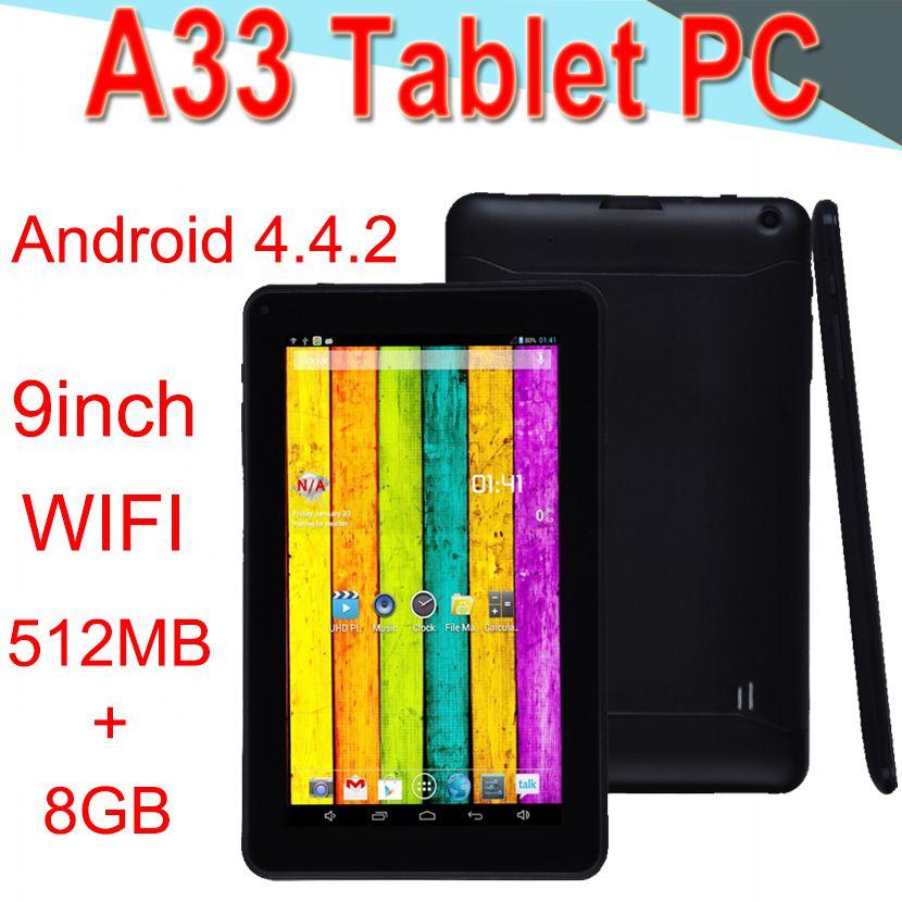 A33 9inch Tablet PC Capacitance Quad Core Android 4 4 Dual Camera 8GB RAM  512MB ROM WIFI Bluetooth 3G EPAD Facebook Google XCTA33-PB