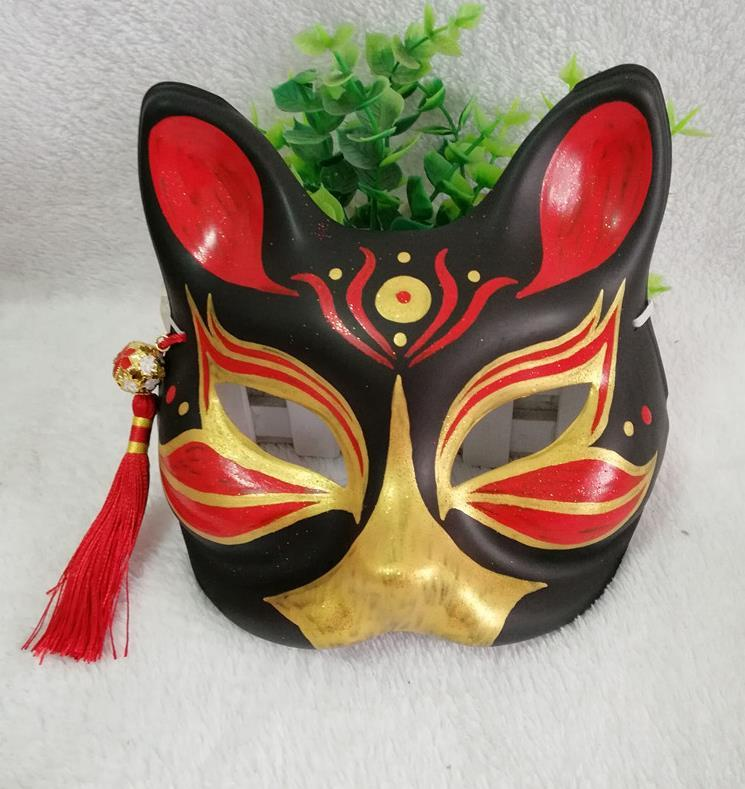 Black Fox Mask Half Face Hand Painted Japanese Cat Fox Cosplay Mask PVC Colorful Kitsune Party Halloween Masks