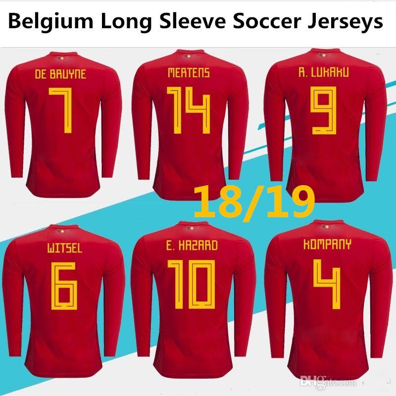 quality design a34e3 a7831 2018-2019 New Belgium Long sleeve soccer jerseys Lukaku Eden Hazard De  Bruyne BATSTUAYI KOMPANY football jersey shirt camisetas de futbol