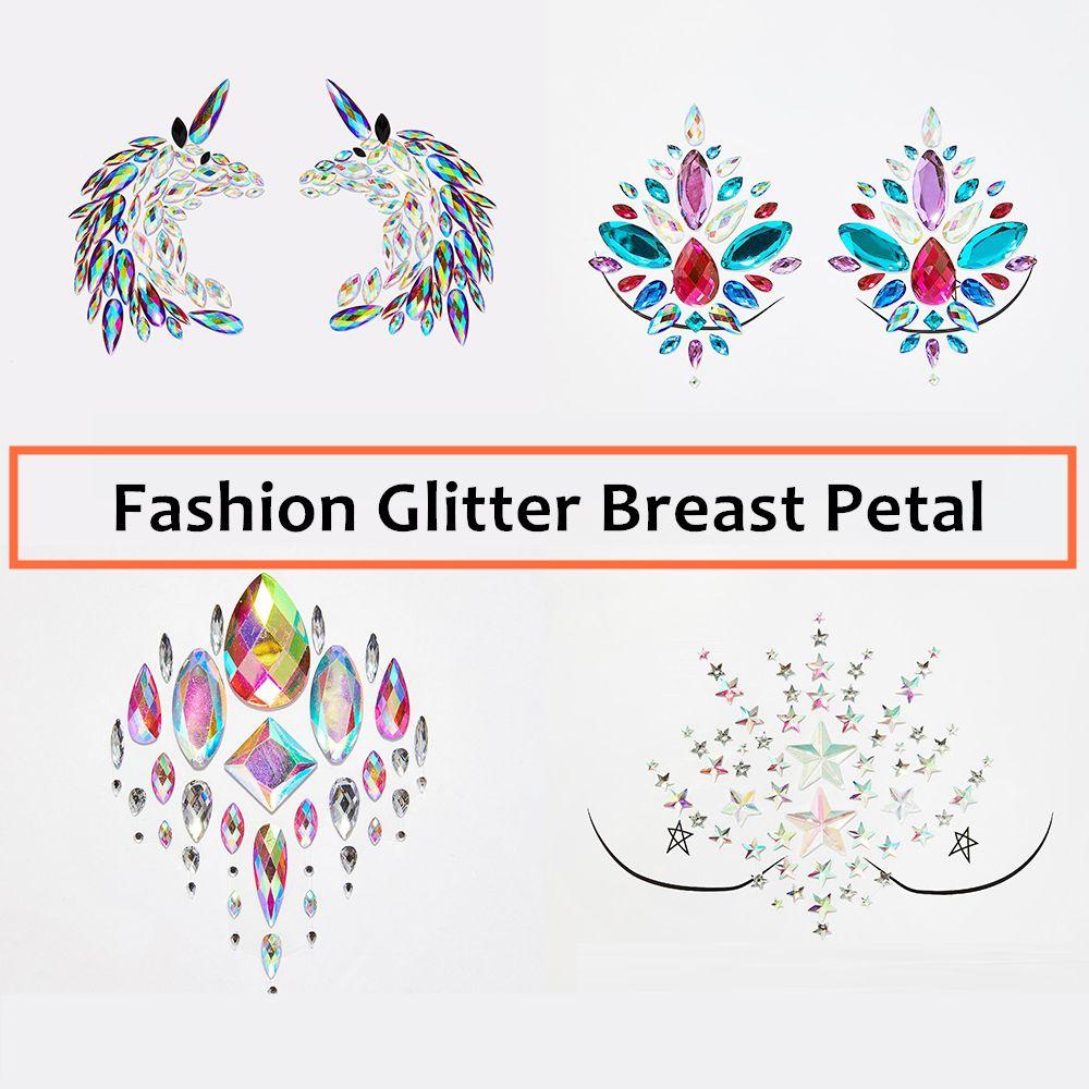 4ab8ba86a9 Women Glitter Body Sticker Nipple Cover Jewels Chest Pasties Temptation  Festival Party Makeup Gems Breast Petals Bra Accessories