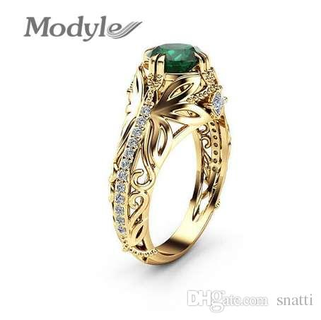 066985e6dd180 Modyle New Green Stone Rings for Women Gold Color Hollow Out Vintage  Butterfly Rings Fashion Jewelry Dropshipping