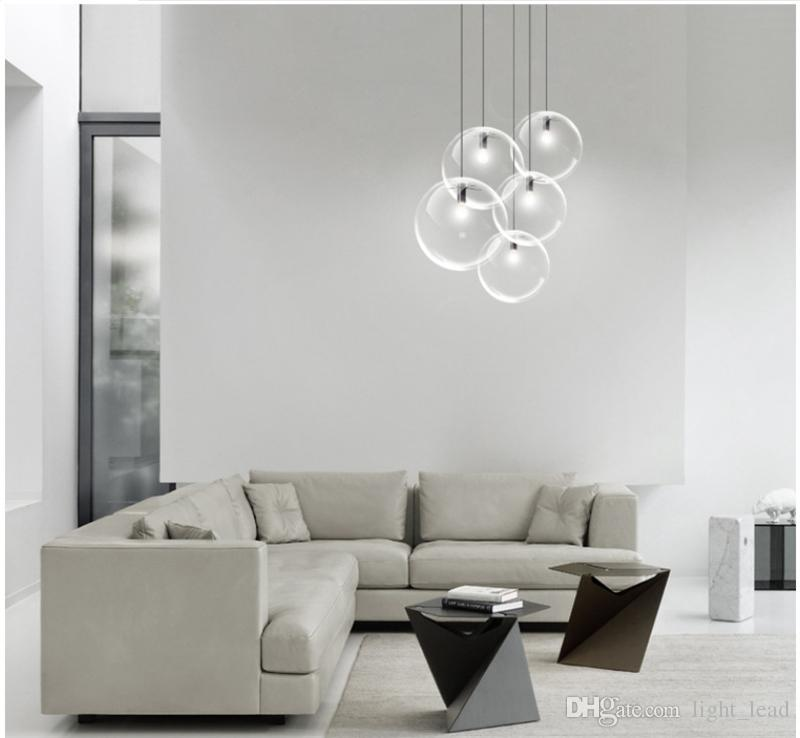Glass Chandelier led Lights 15cm 20cm 25cm 30cm Circular Glass Lampshade Loft Chandelier Modern E27 110V 220V Pendant Lighting