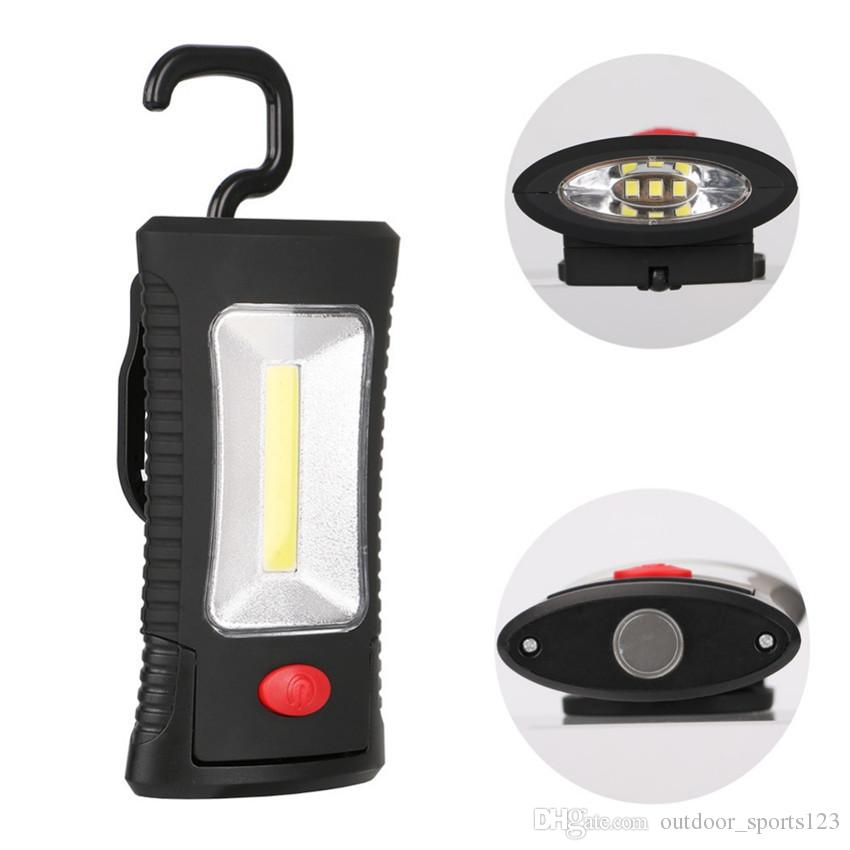 Crochet pliant magnétique multifonctionnel portable COB LED Fonction d'inspection Lampe torche lampe de poche Lanternes USE 3xAAA