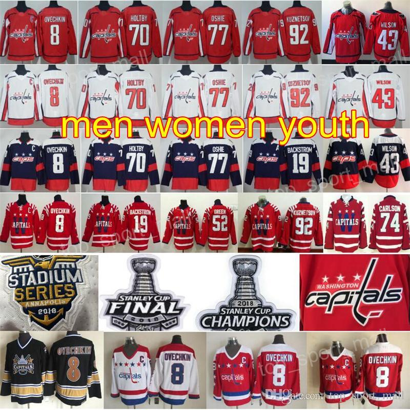 d204cfd18 2018 Stanley Cup Final Champion Hockey Washington Capitals Alexander Alex  Ovechkin Jersey Tom Wilson Braden Holtby TJ Oshie Evgeny Kuznetsov UK 2019  From ...