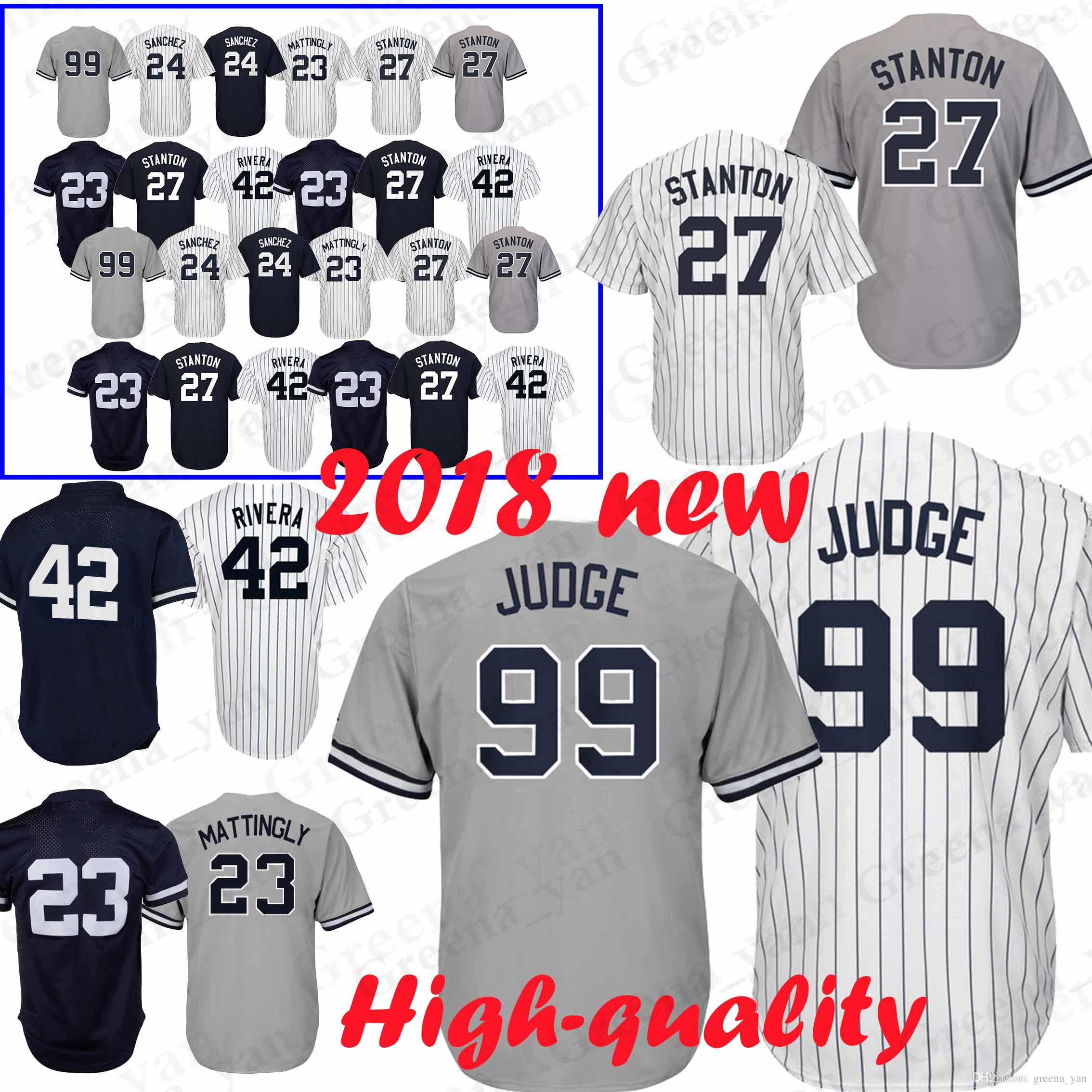 2018 99 Aaron Judge 42 Mariano Rivera New York Yankees Jersey 23 24 3 Babe  Ruth 7 Mickey Mantle 51 Bernie Williams Jerseys High Quality From  Greena yan 3924cb839ec