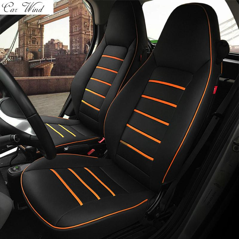 Car Wind Pu Leather Seat Covers For Smart Fortwo 20102017 Forfour Accessories Heated