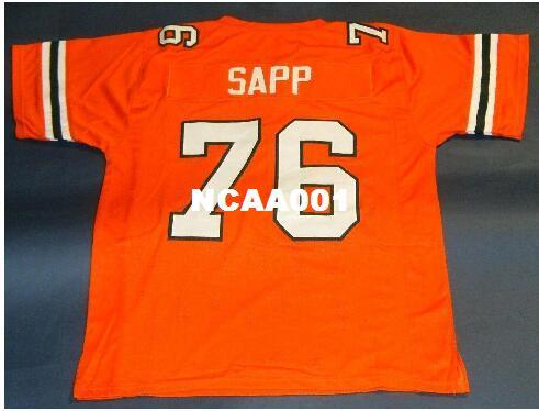 2019 CUSTOM Men  76 WARREN SAPP ORANGE UNIVERSITY MIAMI HURRICANES JERSEY  College Jersey Size S 4XL Or Custom Any Name Or Number Jersey From Ncaa001 949fa51f7