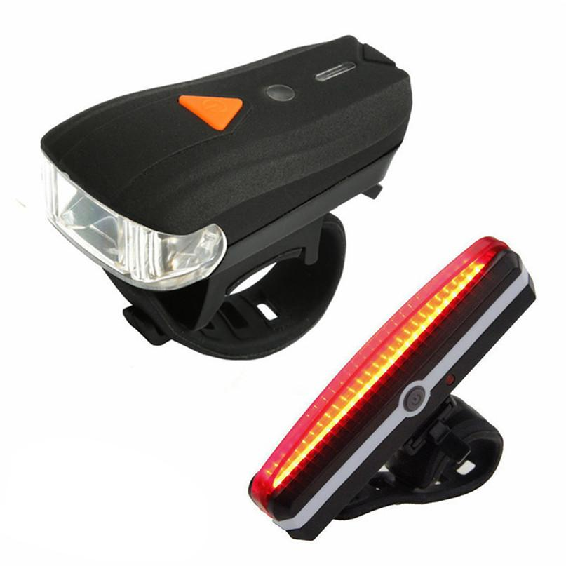 USB Rechargeable LED Bike Bicycle Cycling Front Rear Tail Light Headlight Lamp