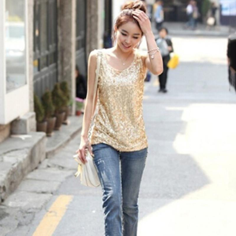 e4482408b38 2019 New Women Tops Summer Plus Size 3XL Thin Slim Gold Sequined Blingbling  Vest Bottoming Shirt Ladies Sleeveless Tee Loose Tops From Cyril03
