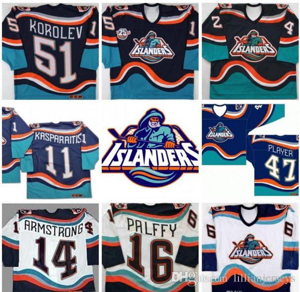 2019 New York Islanders Fisherman Jersey  16 Ziggy Palffy John Tavares  Korolev Brent Beraro Darius Kasparaitis Vintage Throwback Hockey Jerseys  From ... 01925f4da