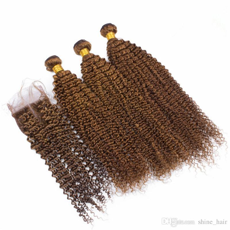 Brazilian Medium Brown Human Virgin Hair Weave Bundles with Closure Kinky Curly #6 Brown 4x4 Lace Closure with Human Hair 3 Bundles