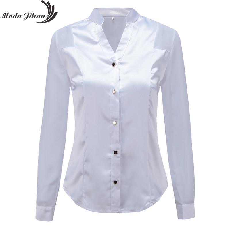 0ab399ad48c0e Compre Moda Jihan Nuevo Diseño Blusas De Las Mujeres Camisas Blanco Negro  De Manga Larga Empalme De La Gasa Satinado Oficina Tops Estilo Delgado Con  Cuello ...