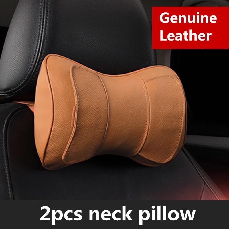 Genuine Leather Car Seat Headrest Pillow Black Auto Neck Support Head Cushion Pillows PP Cotton Seats Accessories Styling Risers For Adults