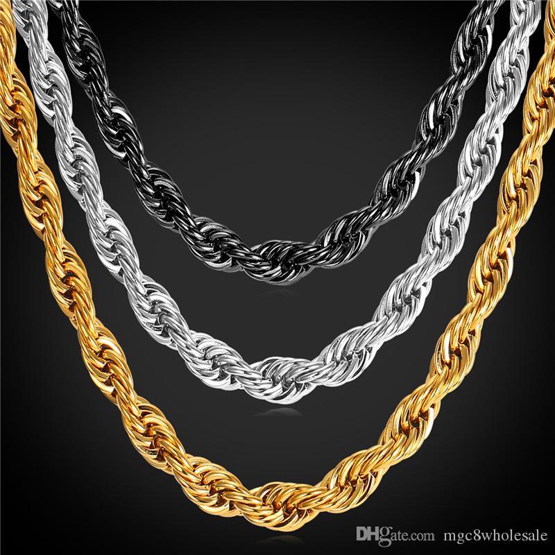 3707aa299cc6 Compre U7 Declaración Collar De Cadena De Cuerda Pulsera 9 MM Hombres  Joyería 18 K Chapado En Oro   Acero Inoxidable Africano Etíope Conjunto De  Accesorios ...