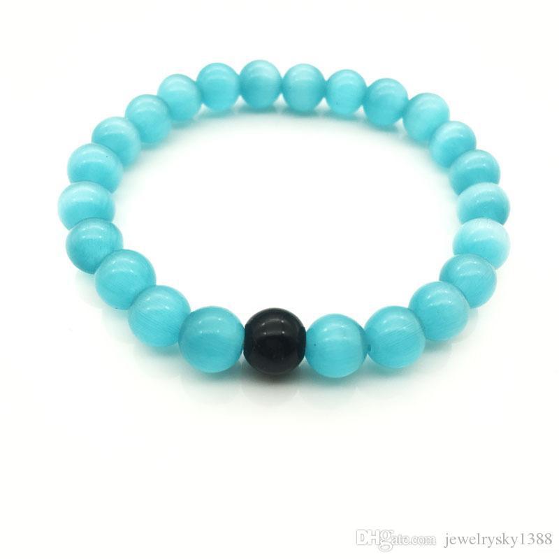 Оптовая ручной работы Синий камень матовый йога набор Будда бусины браслет натуральный камень вулканический рок браслеты для мужчин женщин ювелирные изделия