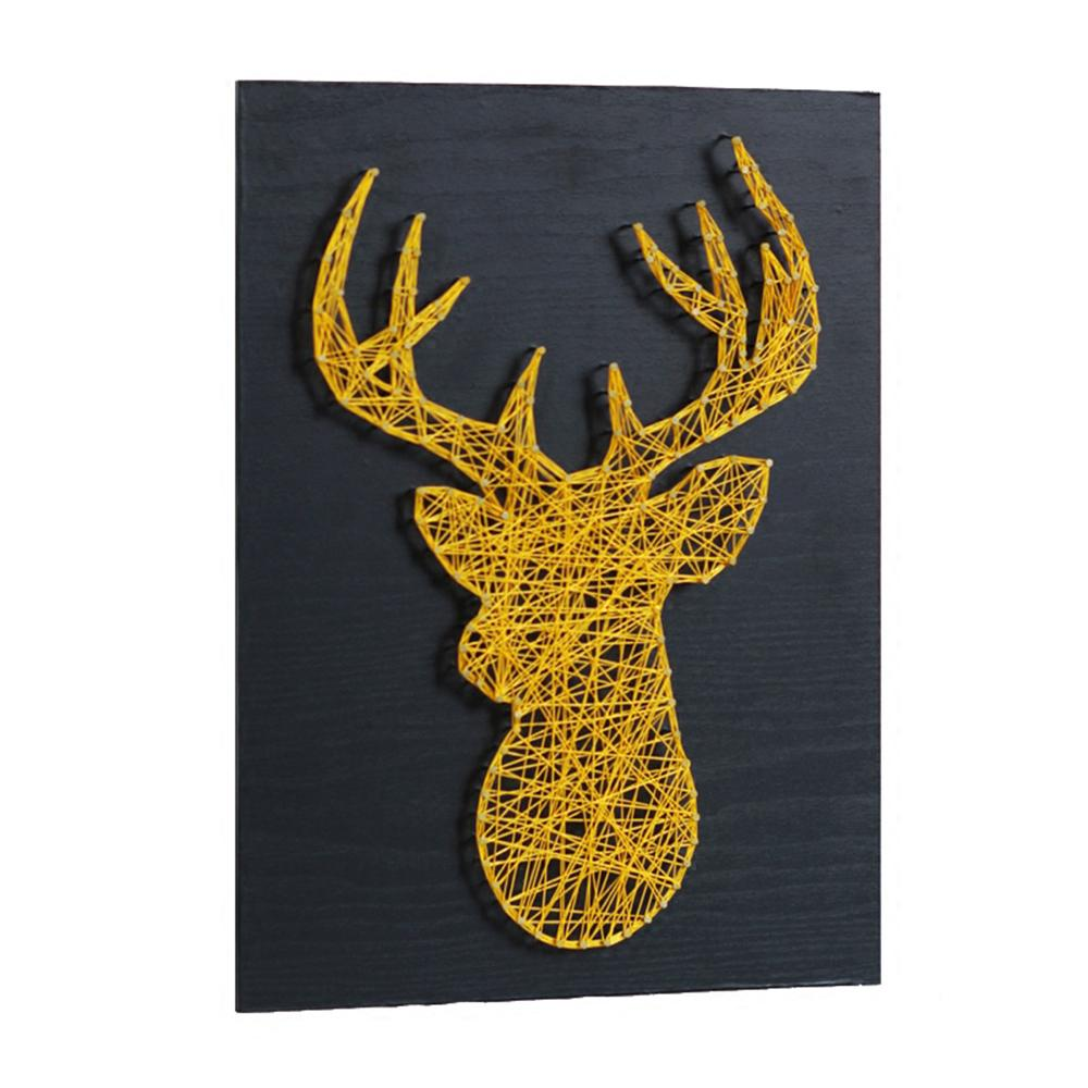 2018 business gift string art 3d golden deer nordic wedding 2018 business gift string art 3d golden deer nordic wedding decoration yarn winding nail painting home decoration painting diy kit from crystalstory junglespirit Images