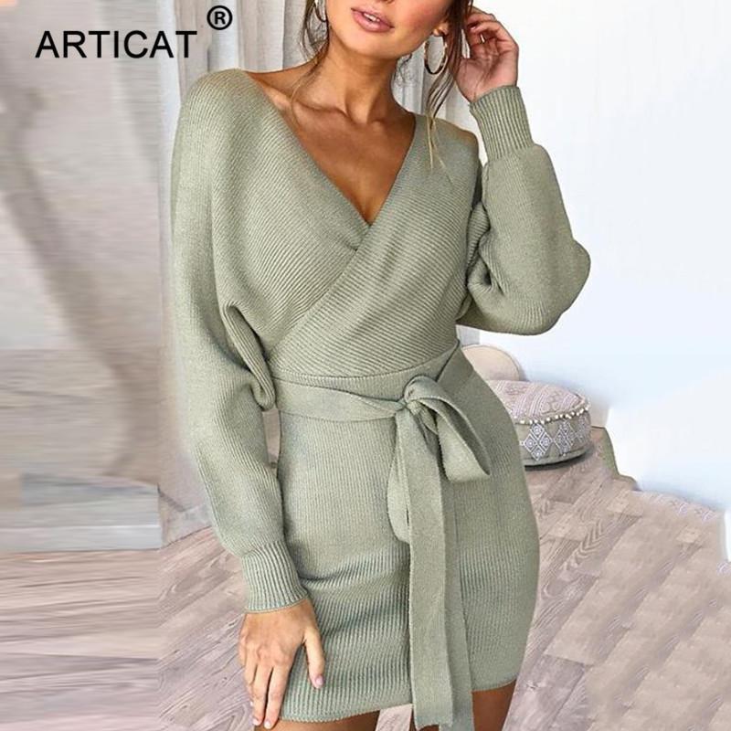 ecf9d8e6543 2019 Articat Knitted Sexy Sweater Dress Women Deep V Neck Long Sleeve  Bodycon Bandage Dress Autumn Winter Casual Mini Party Dress C18110901 From  Linmei0004