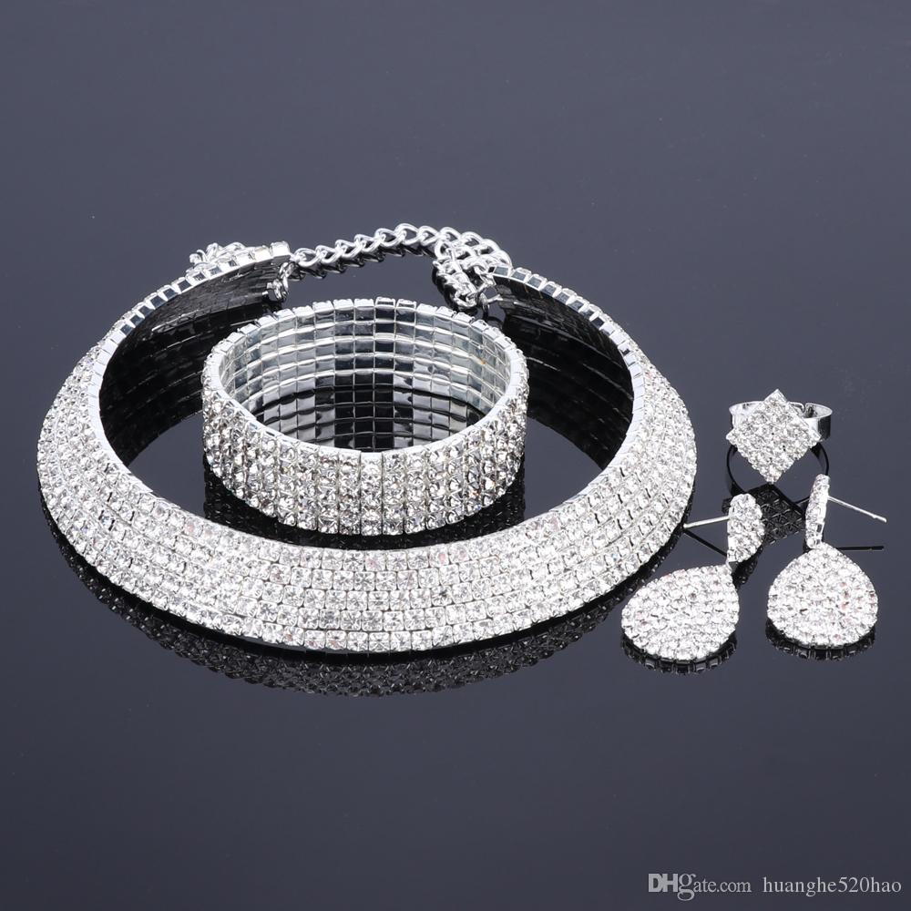 Silver Color Jewelry Sets Crystal Necklace Bracelet Earrings Ring Jewelry Accessories African Beads Jewelry Set for Women