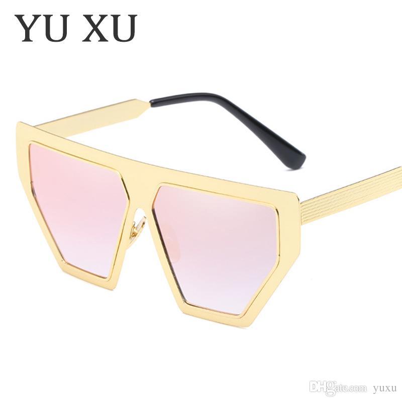 4e8abcc71c4f7 Yu Xu New Irregular Square Sunglasses Women Fashion Retro Flat Top ...