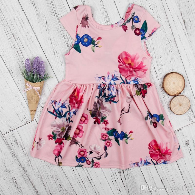 Novas Meninas Floral Impresso Vestido Oco de Volta Grande Arco Vestidos Das Meninas Do Bebê Arco Respirável Legal Verão Saia Outfit 2-7 T