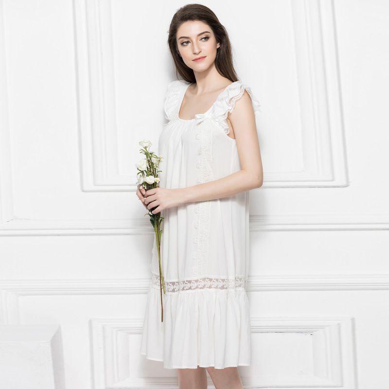 ... competitive price 62ac8 05d23 New Ruffles Nightgowns Pregnant Women  Sleepshirt Strap Sleepwear 100%Cotton Nightgown ... f80b106c1