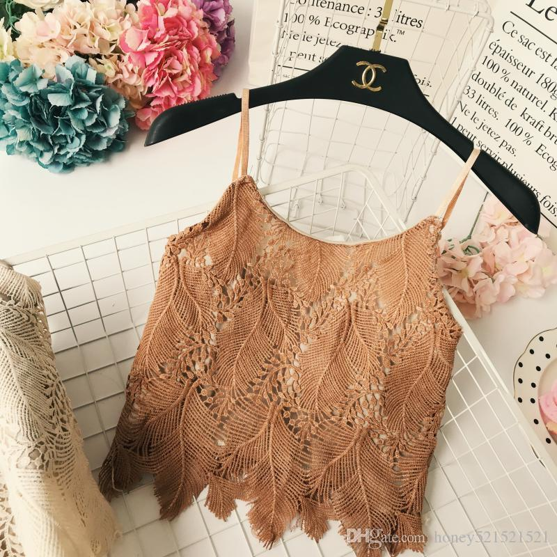 Summer new fashion women's spaghetti strap lace hollow out floral beach vacation short vest crop top camisole tanks mint green color