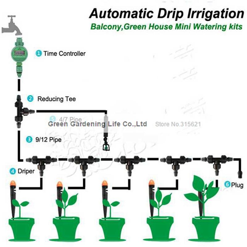 2019 5m Timing Automatic Drip Irrigation System Home Garden Balcony