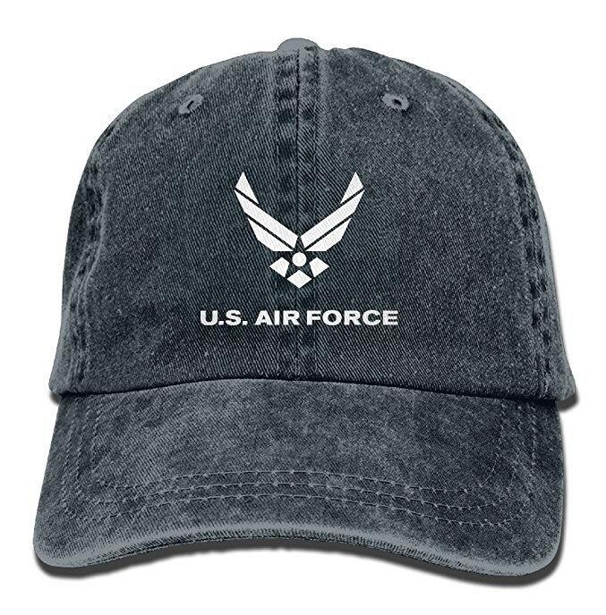 US Air Force Vintage Washed Dyed Cotton Adjustable Denim Cowboy Cap Flat  Brim Hats Baby Cap From Hqy86 e179d2d061b