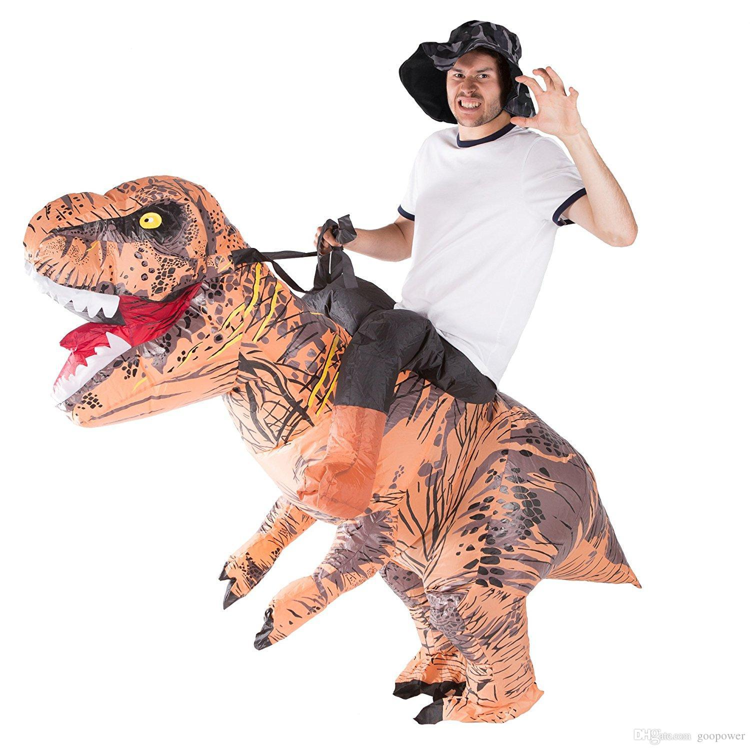 oisk inflatable dinosaur t rex velociraptor costume blow up walking outfits adult one size fancy dress halloween suit battery operated fan fun group