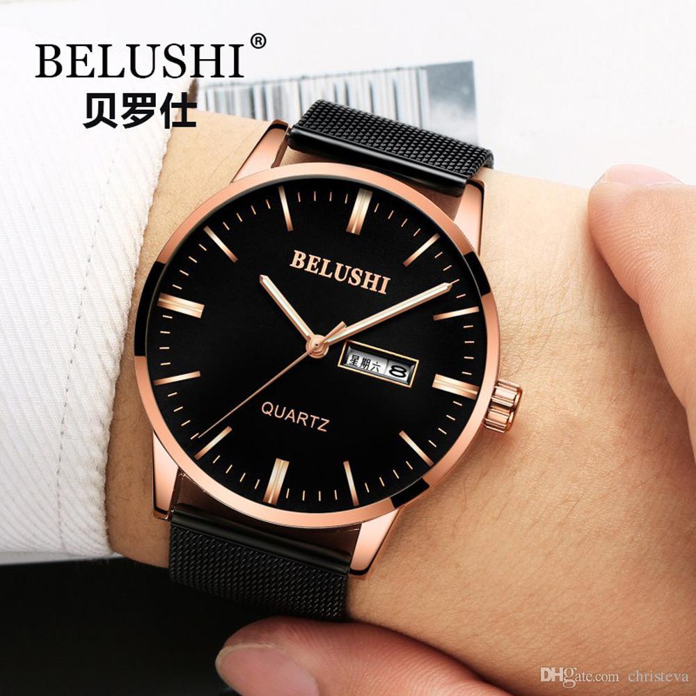 e9ad4c548f29 Compre BELUSHI Marca De Lujo De Lujo De Acero Inoxidable Correa De Malla  Reloj De Pulsera Hombres Montre Simple Reloj De Negocios Reloj De Cuarzo  Dual ...