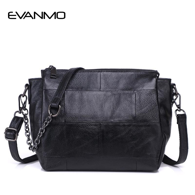 cca5a6ba172c Genuine Leather Messenger Bag Women's Shoulder Bag Interior Compartment  Women Chain Leather Crossbody Bags With Two Strip E
