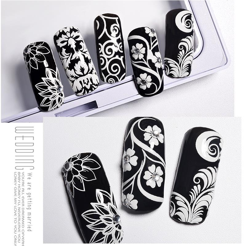 White Flowers Lace 3d Nail Stickers Decals Self Adhesive Diy Charm ...