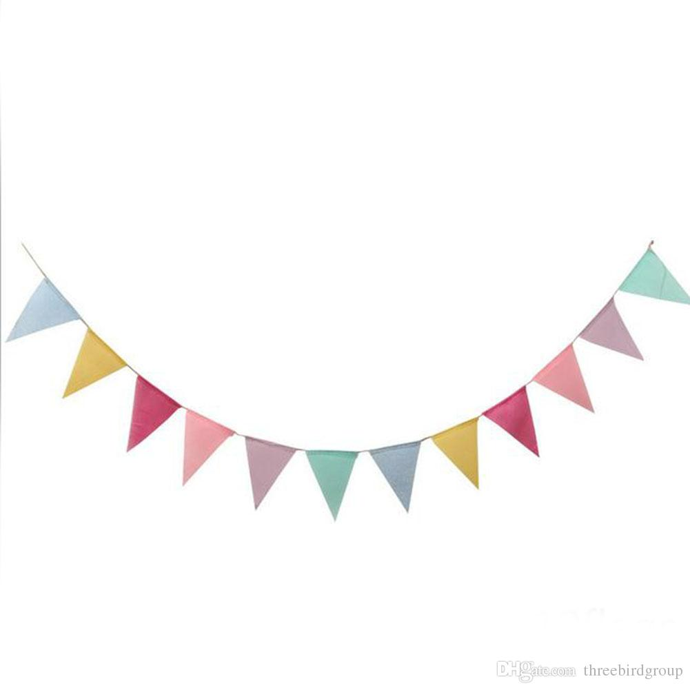 2018 12 Flags Imitated Burlap Pennant Banner Multicolor Fabric Triangle Flag Bunting For Party Hanging Decoration From Threebirdgroup 124