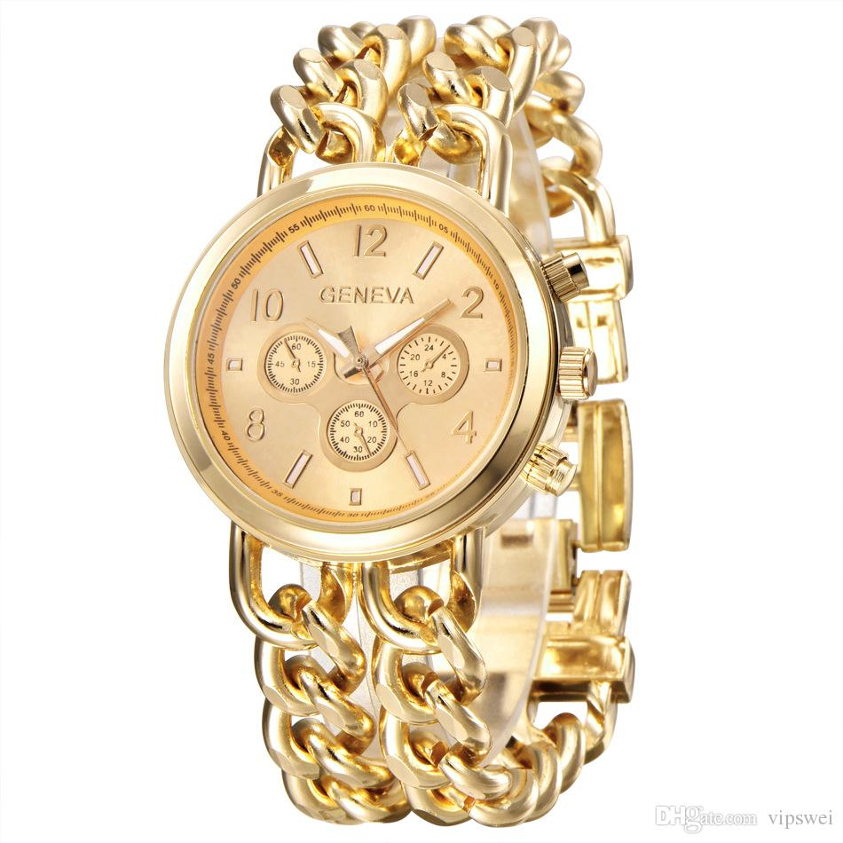 champagne plated dial armani collection gold chain ladies watch watches goldplated exchange