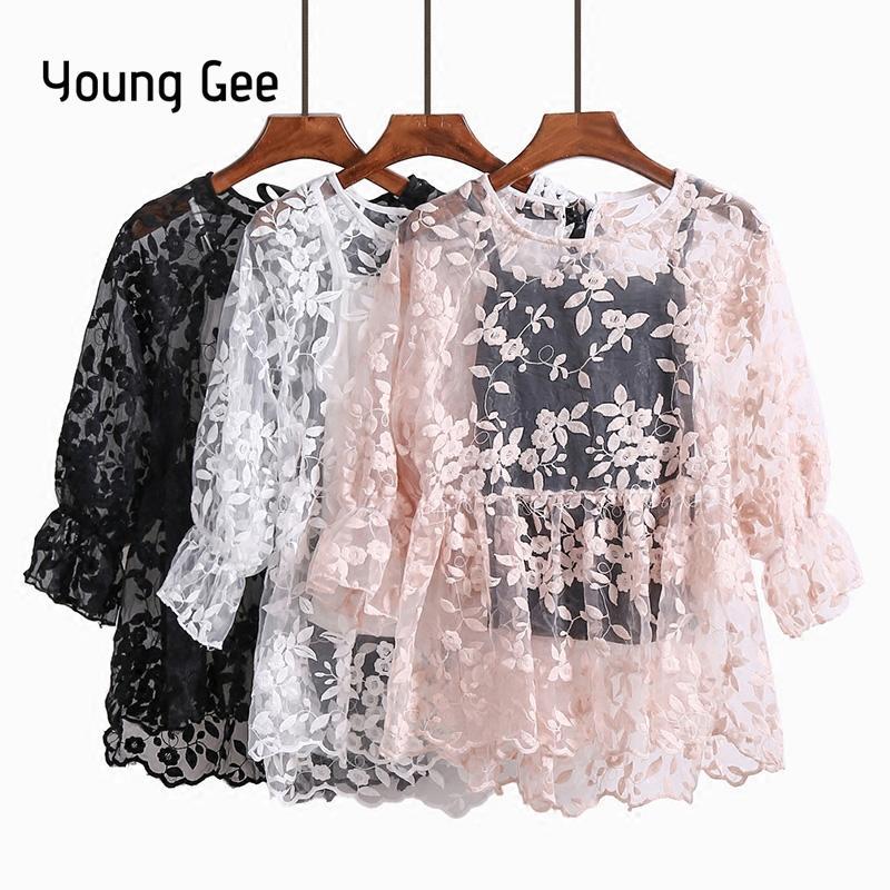 bc71c8f99 Jóvenes Gee Blusas de encaje Camisas Nueva primavera verano Mujeres  coreanas Niñas Flare mangas O-cuello bordado Mujer albaricoque blanco Tops