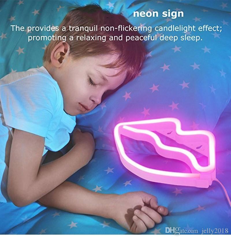 Lips LED Neon Sign Night Lights Design unico Soft Light Wall Decor Lamp Un giocattolo Natale Wedding Party Kids Room