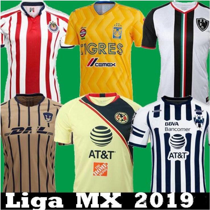 4045e011f Thailand 2018 2019 LIGA MX Club America CHIVAS Guadalajara UNAM TIGRES UANL  Soccer Jersey Club De Cuervos Monterrey 18 19 Football Shirts Mexico  America ...