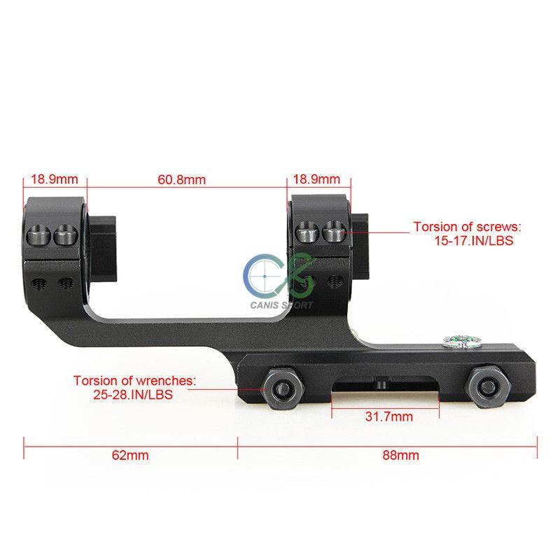El nuevo montaje de doble anillo de llegada con riel lateral de 21.2 mm color negro se ajusta a 25.4 mm o 30 mm CL24-0196
