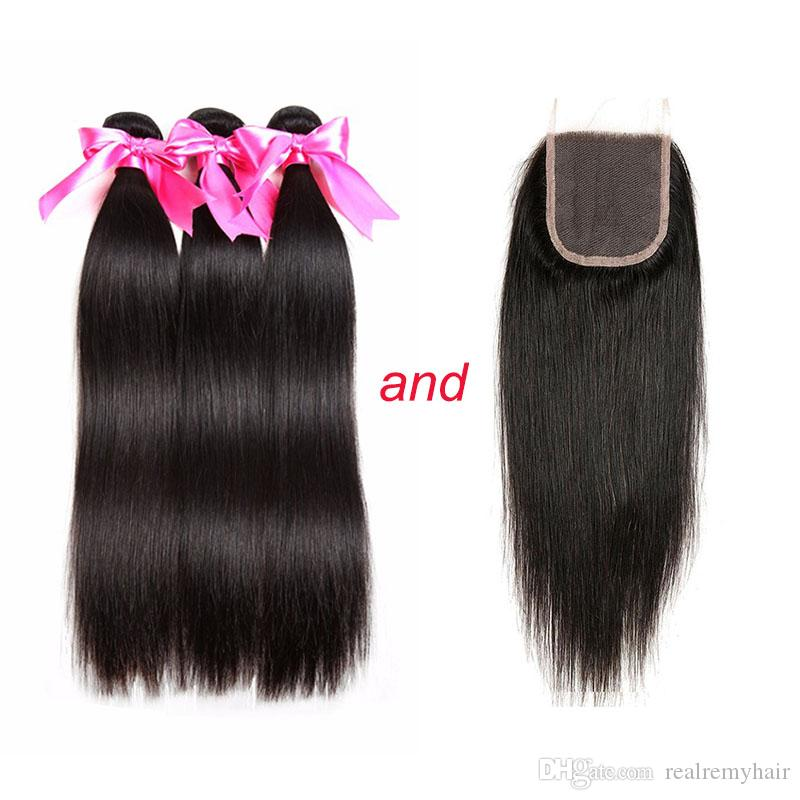 Brazilian Human Hair 3 Bundles With 4x4 Lace Closure Unprocessed Brazilian Straight Virgin Human Hair Weave Extensions Deals With Closure